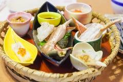 日本螃蟹宴餐 免版税库存照片