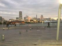日本被看见的明亮的横滨在晚上时间 免版税图库摄影