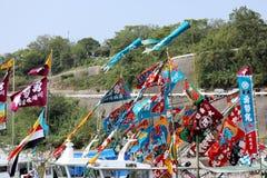 日本装饰的船舶旗子 库存图片