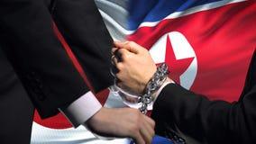 日本认可北朝鲜,被束缚的胳膊,政治或者经济冲突 股票视频