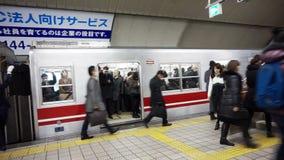日本通勤者走的冲在地铁和火车站 影视素材