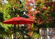 日本遮阳伞和秋叶,日本 图库摄影