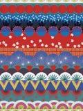 日本部族传染媒介样式红色蓝色白色小野鸭 向量例证