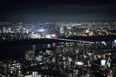 日本都市风景的大阪市 免版税库存照片