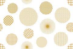 日本金黄印刷品 用不同的几何形状的无缝的传染媒介样式 库存图片
