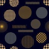 日本金黄印刷品 用不同的几何形状的无缝的传染媒介样式 免版税库存图片