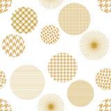日本金黄印刷品 用不同的几何形状的无缝的传染媒介样式 免版税库存照片