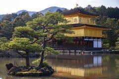 日本金黄寺庙Kinkakuji和庭院 免版税库存图片