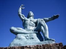 日本长崎和平雕象 免版税库存图片