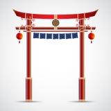 日本门文化 在白色backgr隔绝的传染媒介例证 库存图片