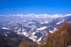 日本阿尔卑斯在冬天 免版税库存照片