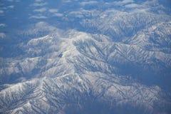 日本阿尔卑斯山山脉鸟瞰图  免版税图库摄影