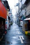 日本雪街道 免版税库存图片