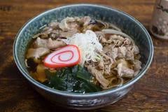 日本面条、Soba用热的汤和Hida发牢骚 免版税库存图片