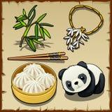 日本题材、套食物,动物和首饰 皇族释放例证