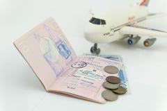 日本风俗在护照里面页盖印  免版税图库摄影