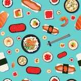 日本食物无缝的样式寿司 免版税图库摄影