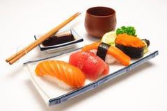 日本食物概念 寿司三文鱼&金枪鱼寿司虾 免版税库存照片