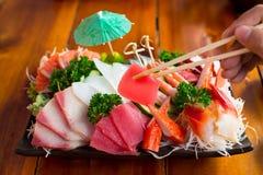 日本食物,寿司盛肉盘 免版税图库摄影