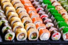 日本食物, maki寿司卷的分类 免版税库存照片