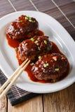 日本食物:与小汤特写镜头的hambagu牛排在板材 ver 图库摄影