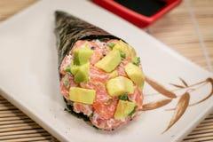 日本食物temaki Avocato 库存照片