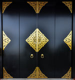 日本黑色门道入口asakusa, senso-ji寺庙 免版税库存图片