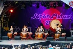 日本鼓小组 免版税图库摄影