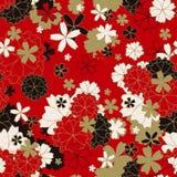 日本经典花卉无缝的样式 库存例证