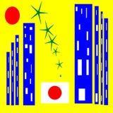 日本 对比和技术城市 皇族释放例证