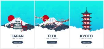 日本 时刻旅行 套旅行海报 传染媒介平的例证 向量例证