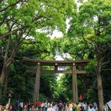 日本- 2014年5月25日 许多人民通过Torii (门)走在ol 库存图片