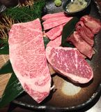 日本BBQ A5新鲜的牛肉 免版税库存图片