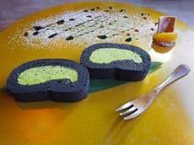 日本greentea奶油Blackroll 免版税库存照片