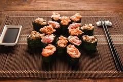日本gunkan寿司卷可口集合,关闭 图库摄影