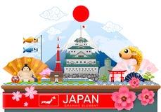 日本infographic旅行地方和地标传染媒介 库存图片