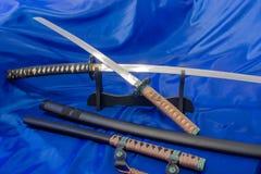 日本katana剑 武士的武器 一个强大的武器在武术大师的手上  免版税库存照片