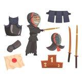 日本kendo剑武术战斗机、装甲和设备 现代日本武术 动画片详细五颜六色 免版税库存照片