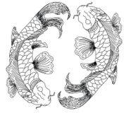 日本koifish纹身花刺设计传染媒介 图库摄影