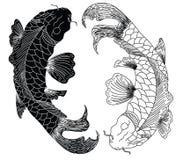 日本koifish纹身花刺设计传染媒介 免版税库存图片