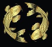 日本koifish纹身花刺设计传染媒介 库存照片