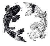日本koifish纹身花刺设计传染媒介 免版税图库摄影