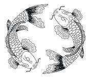 日本koifish纹身花刺设计传染媒介 库存图片