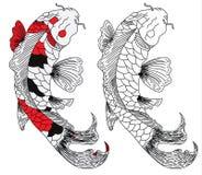 日本koifish纹身花刺设计传染媒介 免版税库存照片