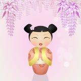 日本kokeshi玩偶 免版税库存照片