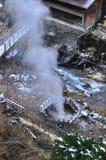日本ryokan硫磺出气孔yudanaka 库存图片