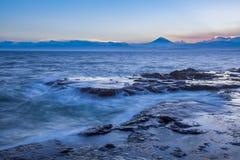 日本seacape海岸线和Mt 富士 免版税库存图片