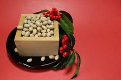 日本setsubun节日#2的大豆 免版税库存图片
