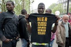 日演示法国可以巴黎 免版税库存照片