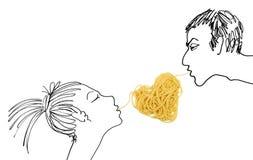 日爱意大利面食s主题华伦泰 库存照片